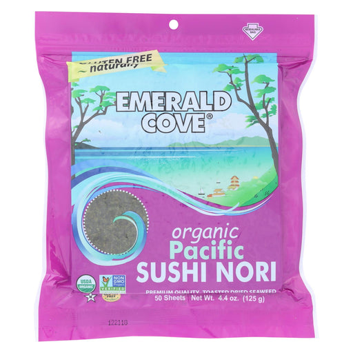 Emerald Cove Organic Pacific Sushi Nori - Toasted - Silver Grade - 50 Sheets - Case Of 4