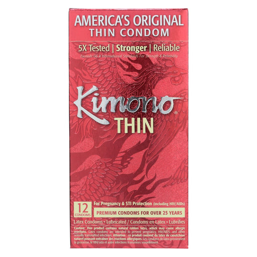 Mayer Laboratories Kimono Premium Thin Latex Condoms - 12 Pack