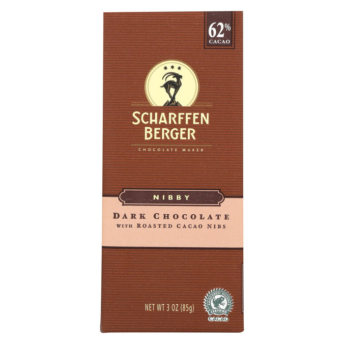 Scharffen Berger Chocolate Bar - Dark Nibby - Dark Chocolate - 62 Percent Cacao - Roasted Cacao Nibs - 3 Oz Bars - Case Of 12
