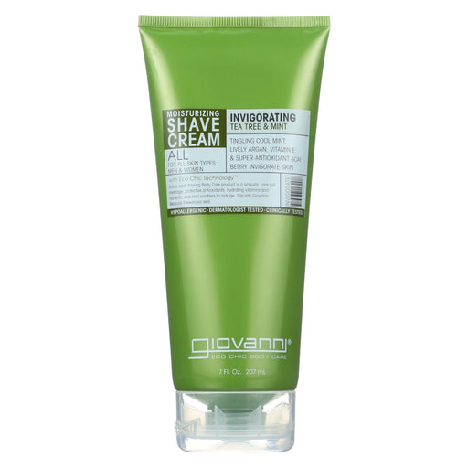 Giovanni Moisturizing Shave Cream All Skin Types Men And Women Refreshing Invigorating Tea Tree And Mint - 7 Fl Oz