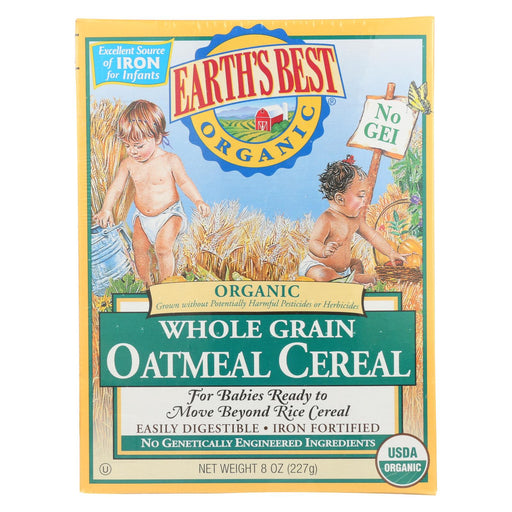 Earth's Best Organic Whole Grain Oatmeal Infant Cereal - Case Of 12 - 8 Oz.