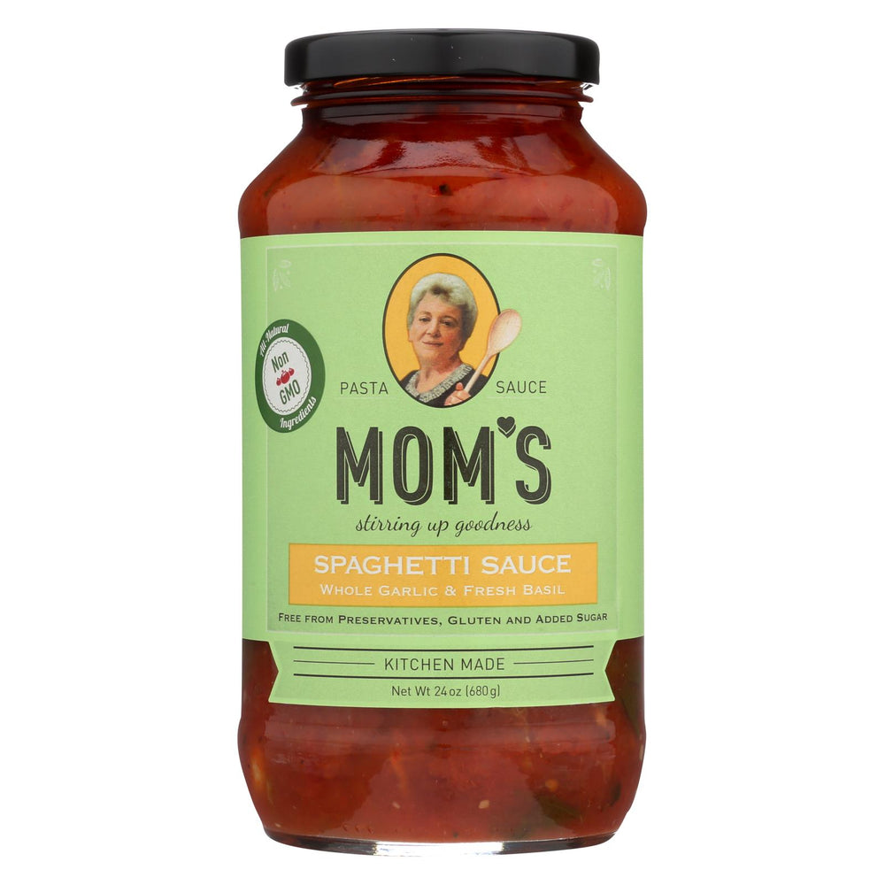 Mom's Pasta Sauce Pasta Sauce - Garlic And Basil - Case Of 6 - 24 Fl Oz.