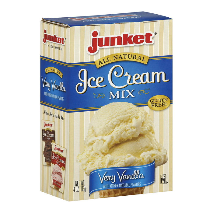 Junket Ice Cream Mix - Very Vanilla - Case Of 12 - 4 Oz.