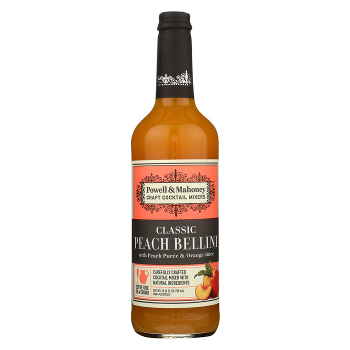 Powell & Mahoney Cocktail Mixers - Peach Bellini - Case Of 6 - 25.36 Oz.