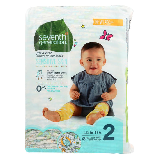 Seventh Generation Free And Clear Baby Diapers - Stage 2 - Case Of 4 - 36 Count
