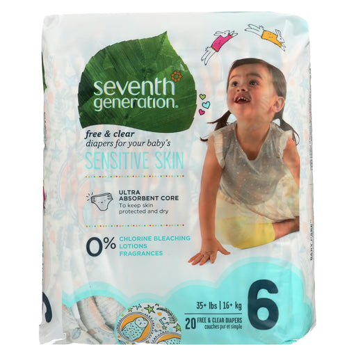 Seventh Generation Free And Clear Baby Diapers - Stage 6 - Case Of 4 - 20 Count