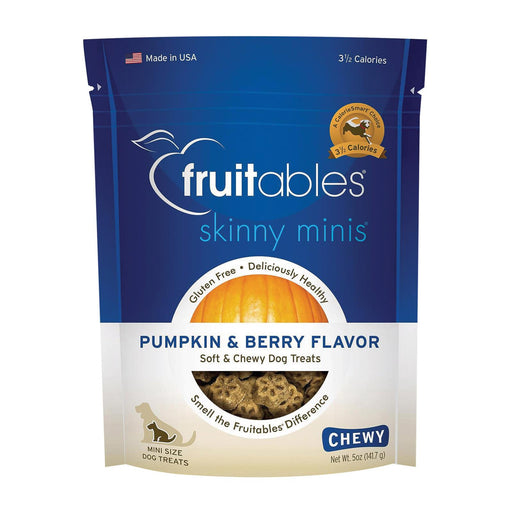 Fruitables Skinny Minis Dog Treats - Pumpkin & Berry Flavor - Case Of 8 - 7 Oz