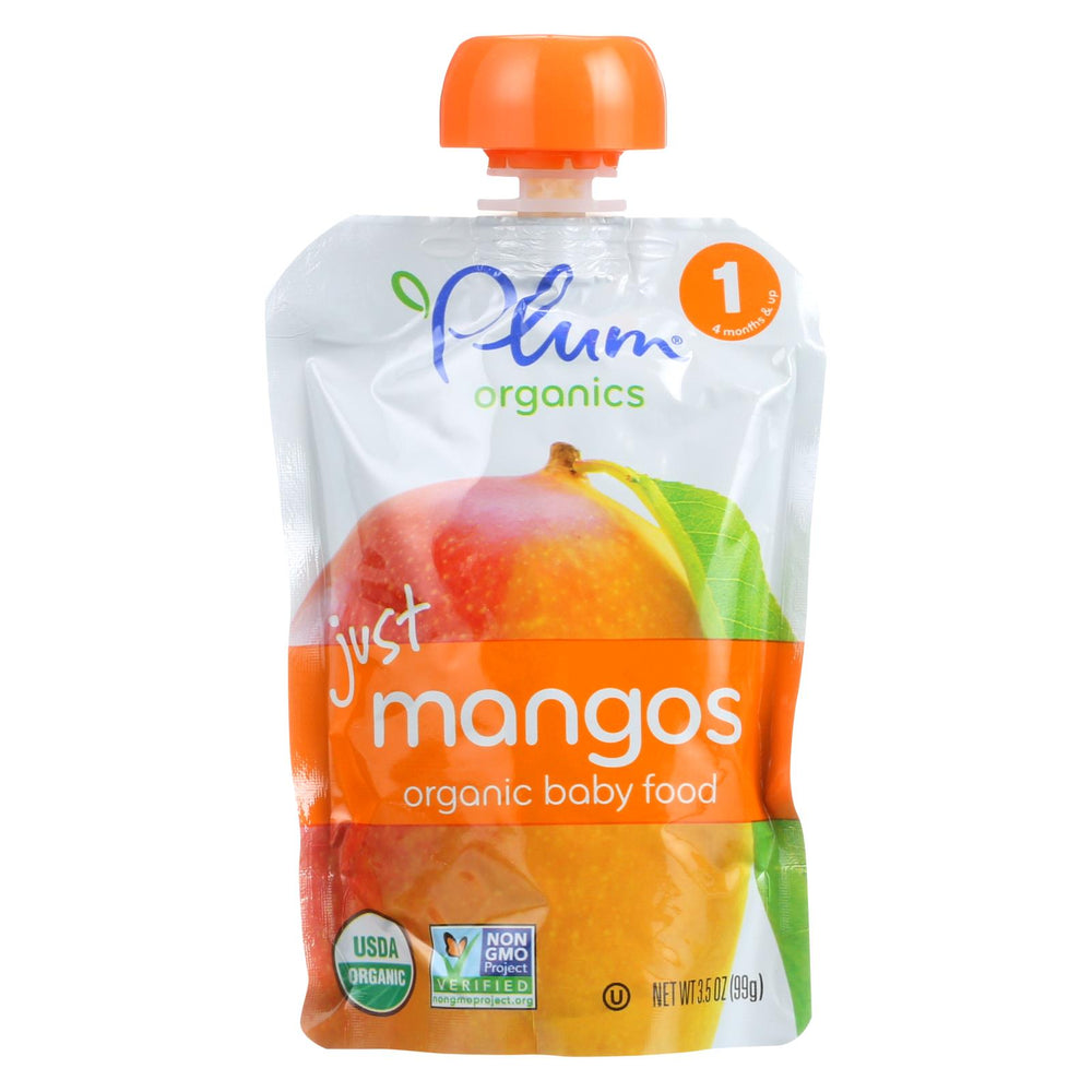 Plum Organics Just Fruit - Organic - Mangoes - Stage 1 - 4 Months And Up - 3.5 Oz - Case Of 6