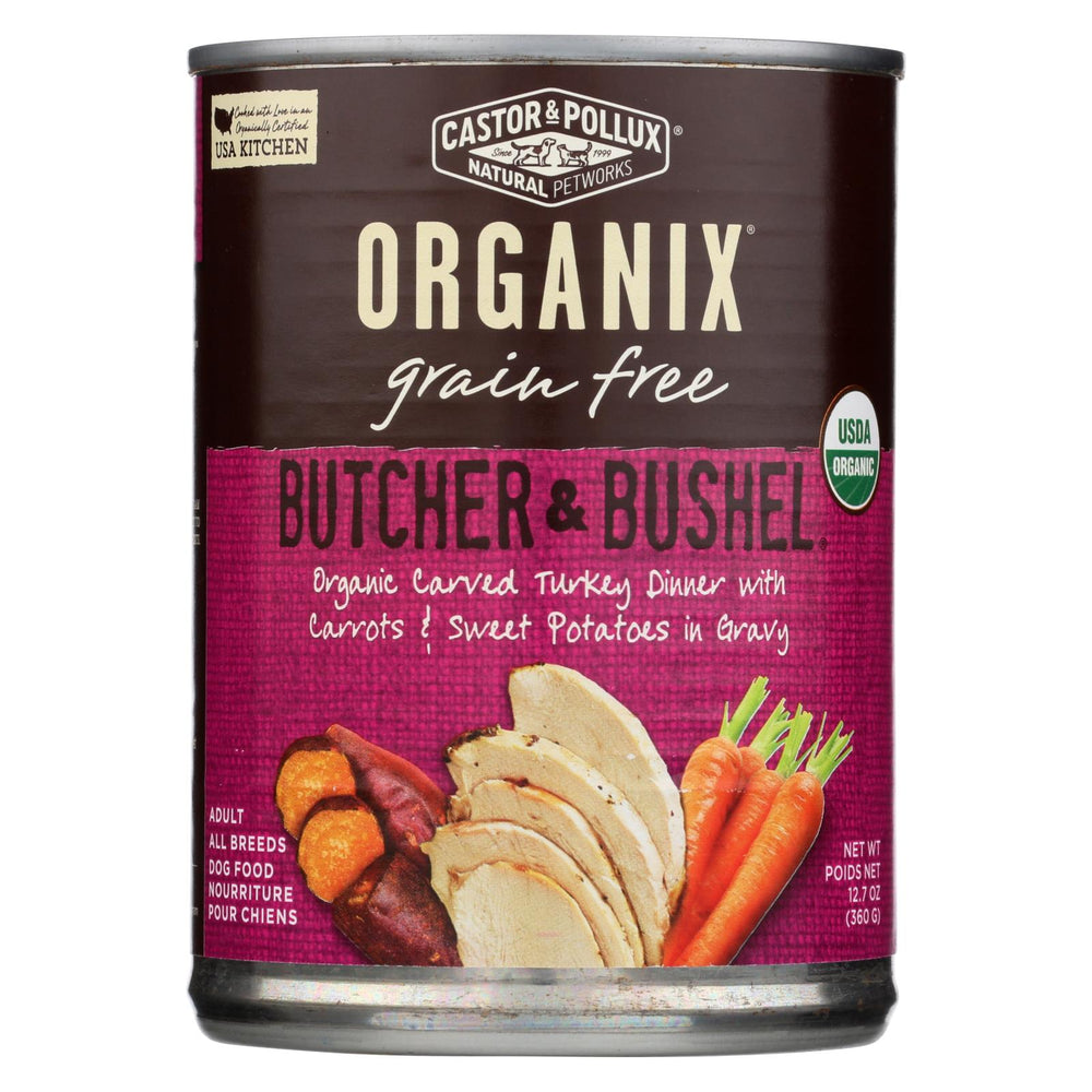 Castor And Pollux Organic Grain Free Dog Food - Turkey Dinner With Fresh Carrots And Sweet Potatoes - Case Of 12 - 12.7 Oz.