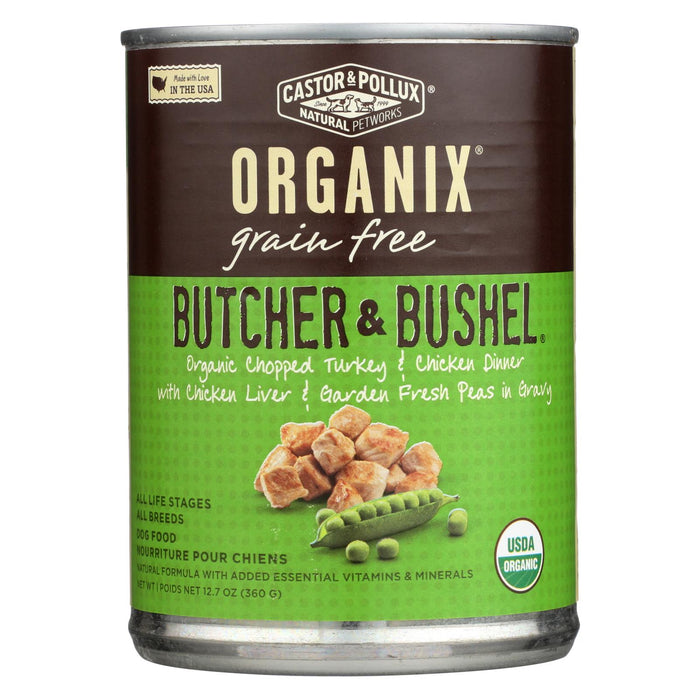 Castor And Pollux Organic Adult Dog Food - Chopped Turkey And Chicken - Case Of 12 - 12.7 Oz.