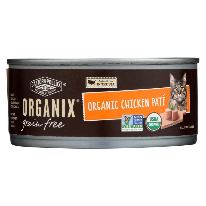 Castor And Pollux Organic Cat Food - Chicken Pate - Case Of 24 - 5.5 Oz.