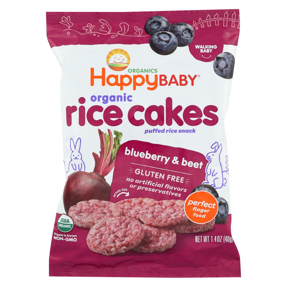 Happy Baby Happy Munchies Rice Cakes - Organic Blueberry And Beet - 1.4 Oz - Case Of 10