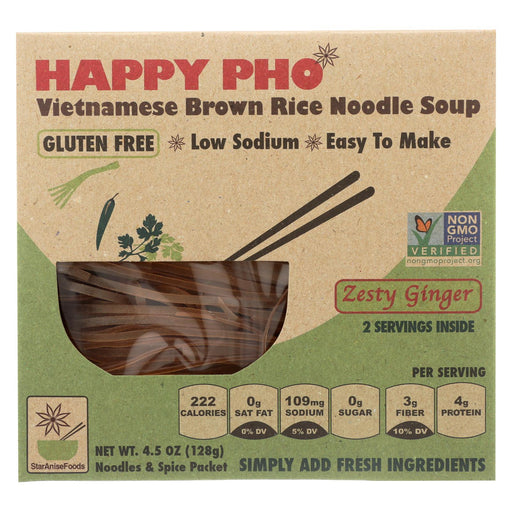 Star Anise Foods Soup - Brown Rice Noodle - Vietnamese - Happy Pho - Zesty Ginger - 4.5 Oz - Case Of 6