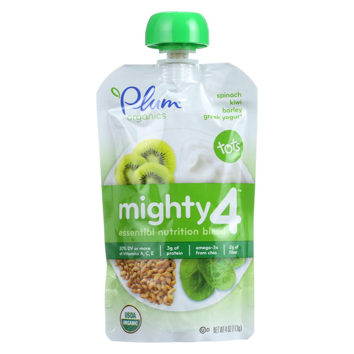 Plum Organics Essential Nutrition Blend - Mighty 4 - Spinach Kiwi Barley Greek Yogurt - 4 Oz - Case Of 6