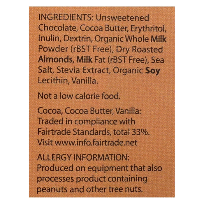 Lily's Sweets Chocolate Bar - Milk Chocolate - 40 Percent Cocoa - Salted Almond - 3 Oz Bars - Case Of 12