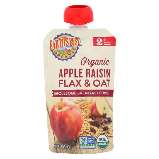 Earth's Best Organic Wholesome Breakfast Apple Raisin Pouch - Case Of 12 - 4 Oz.