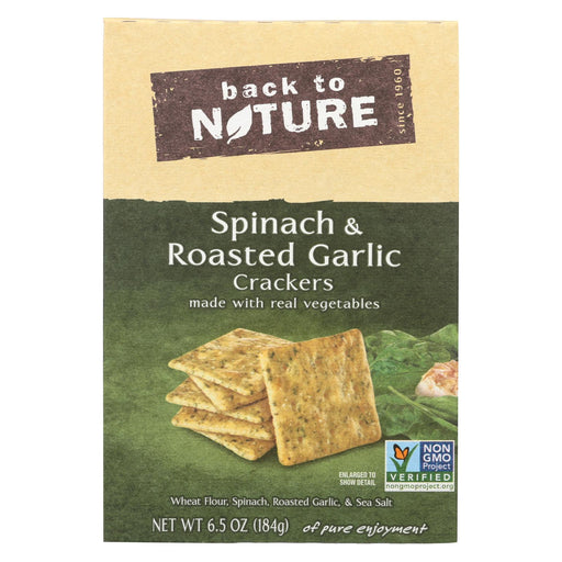 Back To Nature Spinach And Roasted Garlic Crackers - Spinach, Roasted Garlic And Sea Salt - Case Of 6 - 6.5 Oz.