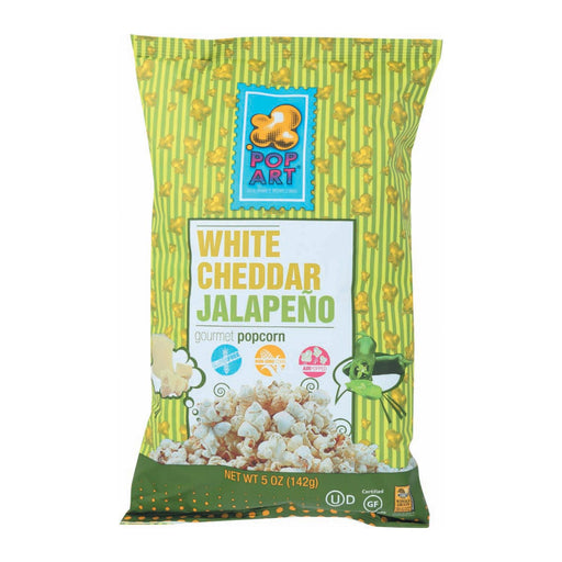 Pop Art Gourmet Popcorn - White Cheddar Jalapeno - Case Of 9 - 5 Oz.