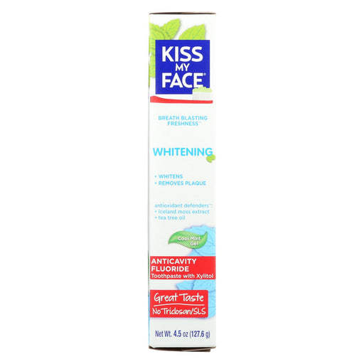 Kiss My Face Toothpaste - Whitening - Anticavity Fluoride - Gel - 4.5 Oz
