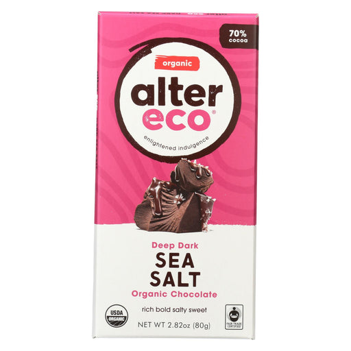 Alter Eco Americas Organic Chocolate Bar - Deep Dark Sea Salt - 2.82 Oz Bars - Case Of 12