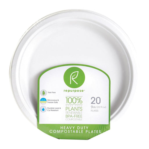 Repurpose Compostable Bagasse Plates - Case Of 12 - 20 Count
