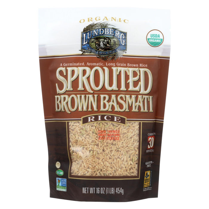 Lundberg Family Farms Sprouted Brown Basmati Rice - Case Of 6 - 1 Lb.
