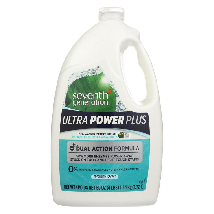 Seventh Generation Ultra Power Plus Dishwasher Detergent Gel - Fresh Citrus - Case Of 6 - 65 Oz.