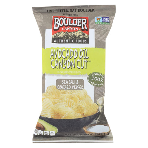 Boulder Canyon Natural Foods Avocado Oil Canyon Cut Potato Chips - Sea Salt And Cracked Pepper - Case Of 12 - 5.25 Oz.