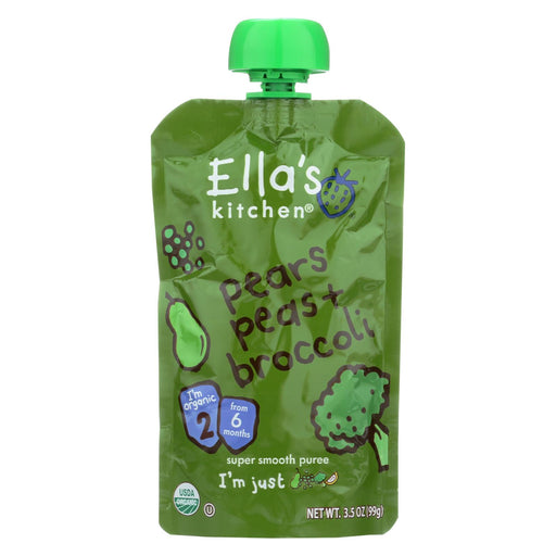 Ella's Kitchen Baby Food - Broccoli, Pears Peas - Case Of 12 - 3.5 Oz.