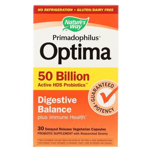Nature's Way Primadophilus Optima - Digestive Balance - 50 Billion - 30 Vegetarian Capsules