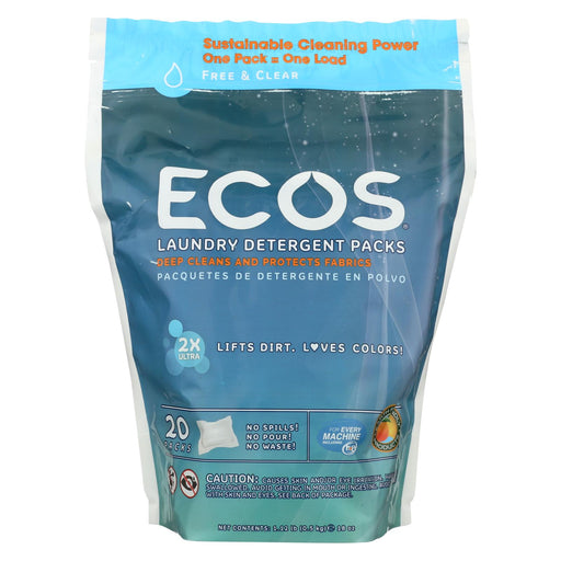 Earth Friendly Laundry Detergent Packs - Ultra Liq Ecos - 20 Pods - Free And Clear - 17.98 Oz - Case Of 6