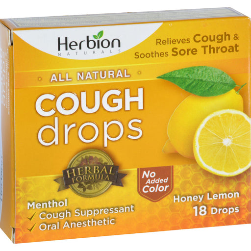 Herbion Naturals Cough Drops - All Natural - Honey Lemon - 18 Drops