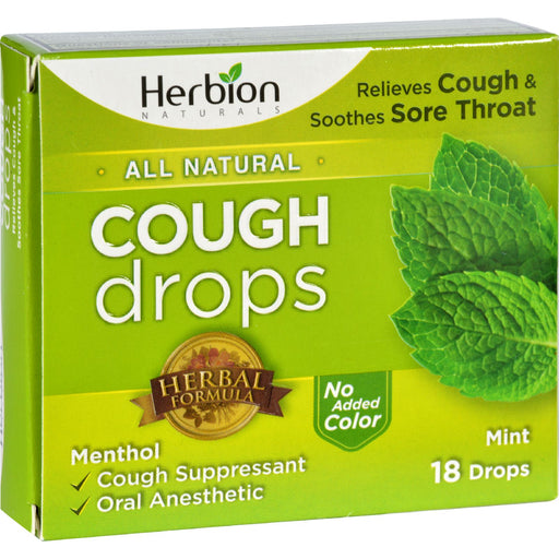 Herbion Naturals Cough Drops - All Natural - Mint - 18 Drops