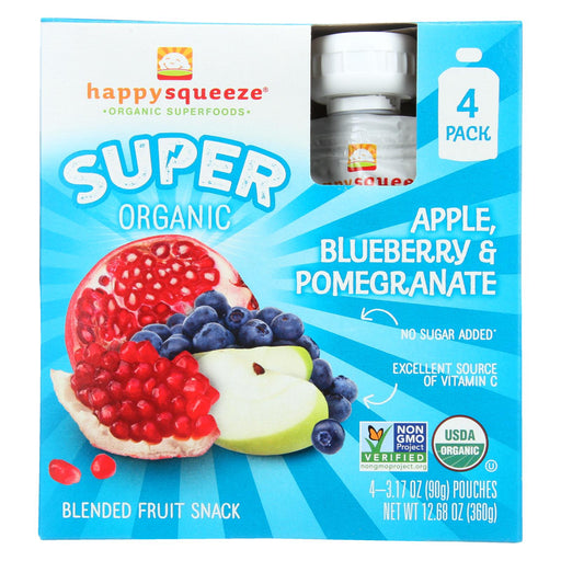 Happy Squeeze Fruit Snack - Organic - Blended - Super - Apple Blueberry And Pomegranate - 4-3.17 Oz - Case Of 4