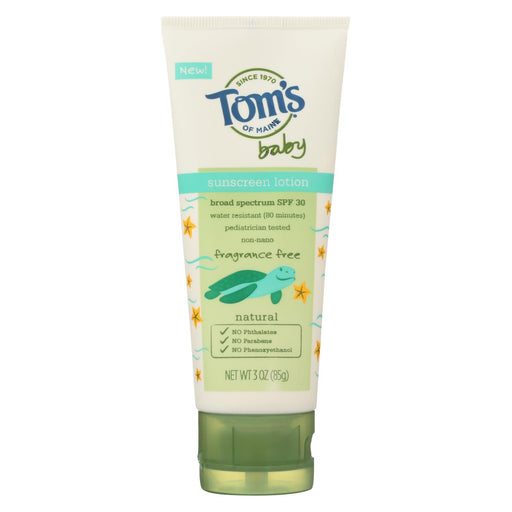 Toms Of Maine Sunscreen - Baby - Fragrance Free - 3 Oz - Case Of 6