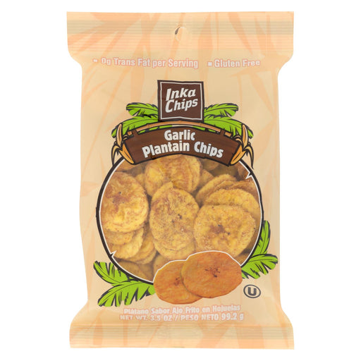 Inka Crops Plantain Chips - Garlic - Case Of 12 - 3.5 Oz