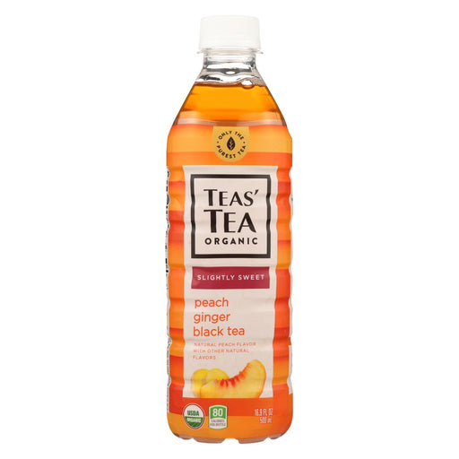 Tea's Organic Black Tea - Lightly Sweet Peach Ginger - Case Of 12 - 16.9 Fl Oz.