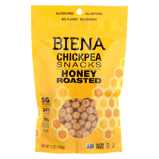 Biena Chickpea Snacks - Honey Roasted - Case Of 8 - 5 Oz.