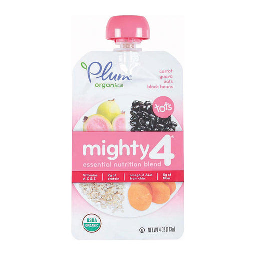 Plum Organics Mighty 4 Blends Tots - Guava, Pomegranate, Black Bean, Carrot, And Oat - Case Of 6 - 4 Oz.