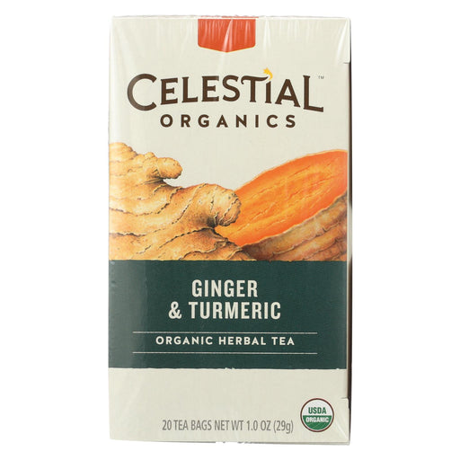 Celestial Tea - Organic - Ginger & Tumeric - Herbal - Case Of 6 - 20 Bag