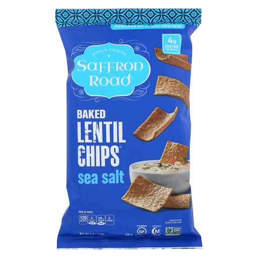 Saffron Road Lentil Chips - Sea Salt - Case Of 12 - 4 Oz