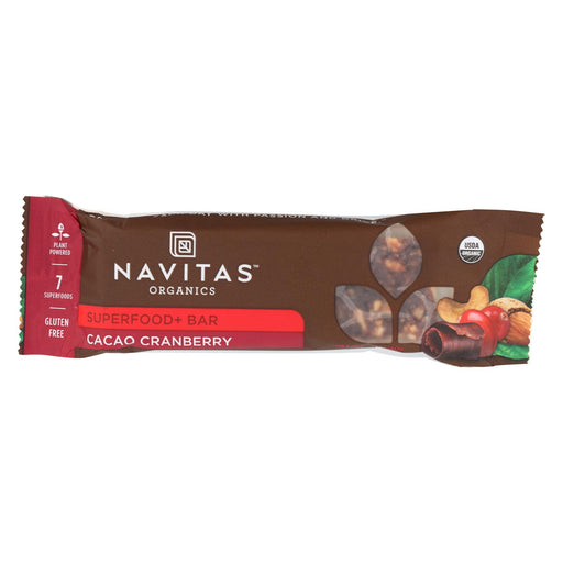 Navitas Naturals Organic Superfood Bar - Cacao Cranberry - Case Of 12 - 1.4 Oz.