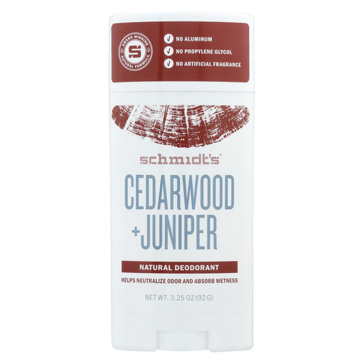 Schmidt's Natural Deodorant Stick - Cedarwood Juniper - 3.25 Oz.