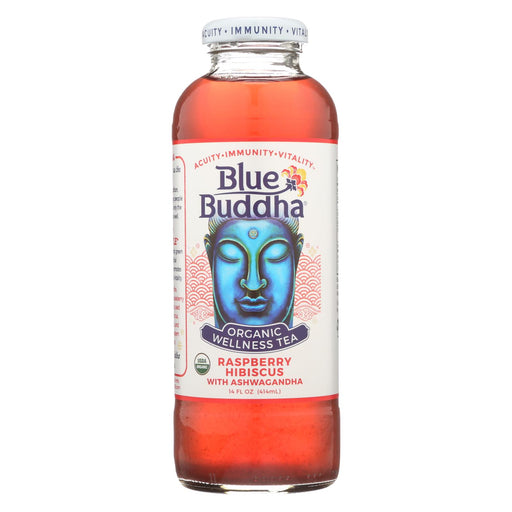 Blue Buddha Organic Wellness Tea - Raspberry Hibiscus With Ashwagandha - Case Of 12 - 14 Oz.