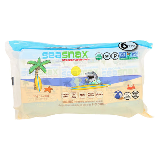 Seasnax Organic Seaweed Snack - Original - Case Of 12 - 1.08 Oz