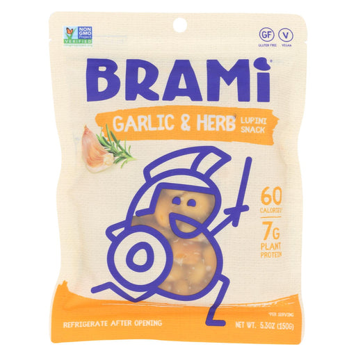 Brami Lupini Snack - Garlic And Herb - Case Of 8 - 5.3 Oz.