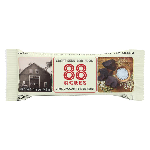 88 Acres Bars - Chocolate And Sea Salt - Case Of 9 - 1.6 Oz.