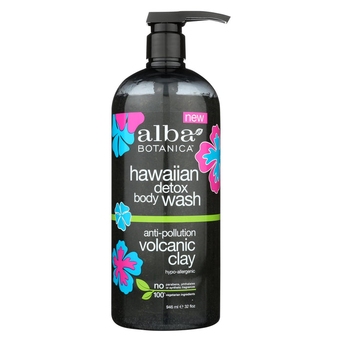 Alba Botanica Hawaiian Detox Body Wash - Anti-pollution Volcanic Clay - 32 Fl Oz