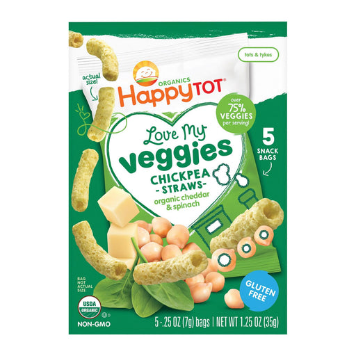 Happy Tot Organic Love My Veggies - Cheddar And Spinach Straws - Case Of 6 - 1.25 Oz