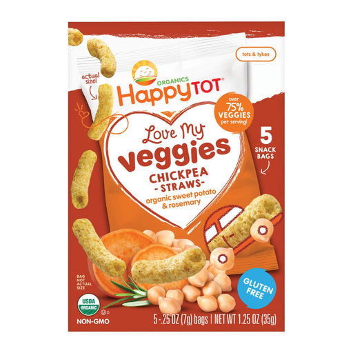 Happy Tot Organic Chickpea Straws - Sweet Potato & Rosemary - Case Of 6 - 1.25 Oz